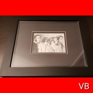 Beatles Double Matted Black Framed Lithograph